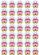 Princess Castle Stickers - Matt Paper - 37mm Rounds - Part Bags, Sweet Cones, Birthday